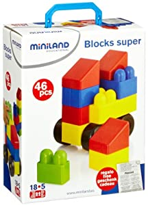Miniland 32320 - Juego de 46 bloques de construcción Importado de Alemania