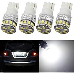 AMAZENAR Pack de 4 T10 194 168 2825 Blanc 12V-24V 18SMD 3014 Ampoule LED de pour Voiture pour Dôme de Carte pour Plaque D'immatriculation de Tableau
