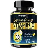 Vitamin D3 1000IU 365 Softgels Rapid Absorption Vitamin D for Maintaining Normal Bones