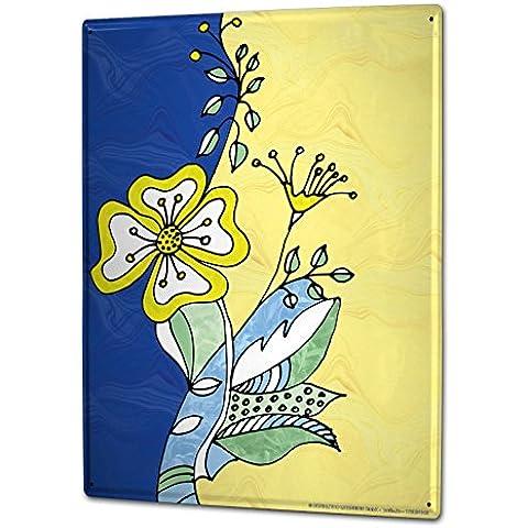 Cartello Targa in Metallo XXL Mondo sogni Vintage fiori colorati e cuori rossi