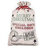 Do Not Open before Christmas juta sacco di Natale. Ideale per contenere una grande quantità di regali, completo con festive rosso con coulisse chiusura. Perfetto per bambini e nipoti. H 80x W 50cm