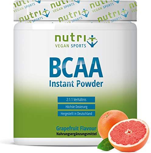 BCAA PULVER Grapefruit | Aminosäuren Complex hochdosiert | BCAAs Instant Powder vegan | Aminosäure-Pulver | 2:1:1 L-Leucin L-Isoleucin L-Valin 300g | hergestellt in Deutschland -