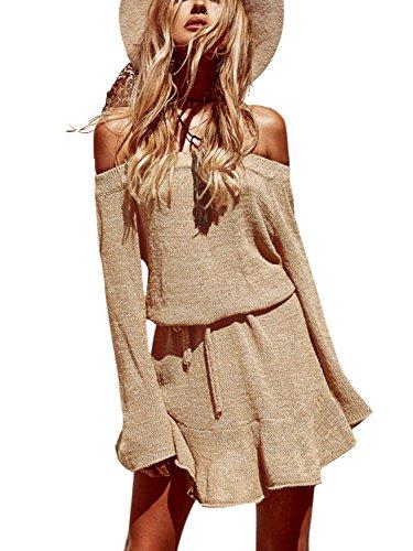 Simplee Apparel Damen Knielang Kleid Elegant Langarm Schulterfrei Strickkleider mit Trompete Ärmel Khaki (Kurz Vorne Rüschen)