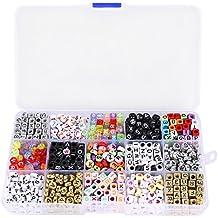 CLE DE TOUS - Kit 1100pcs Abalorios Cuentas Dados con Letras para hacer pulseras collares