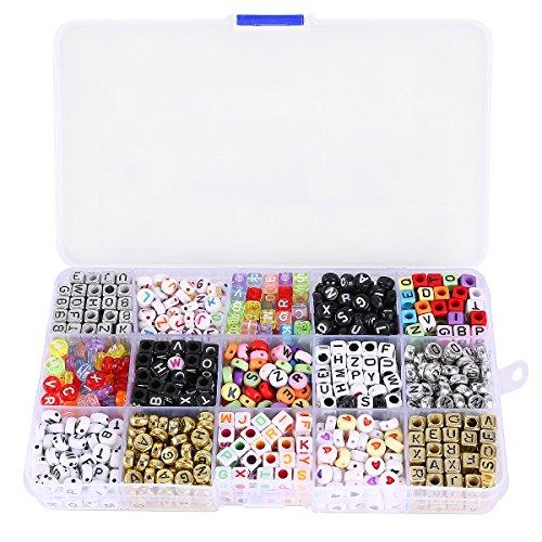 1100 x Buchstabenperlen Anhänger BUSTABEN BÄLLE Alphabet Beads für loom Bands Armbänder Gummibänder Bänder Anhänger Starter Set Basteln DIY Zubehör