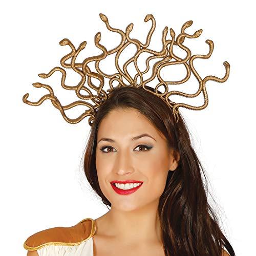 Kopfschmuck Kostüm Medusa - NET TOYS Medusa-Kopfschmuck mit Schlangen | Gold | Außergewöhnliches Damen-Kostüm-Zubehör Schlangenkönigin | EIN Blickfang für Fasching & Karneval