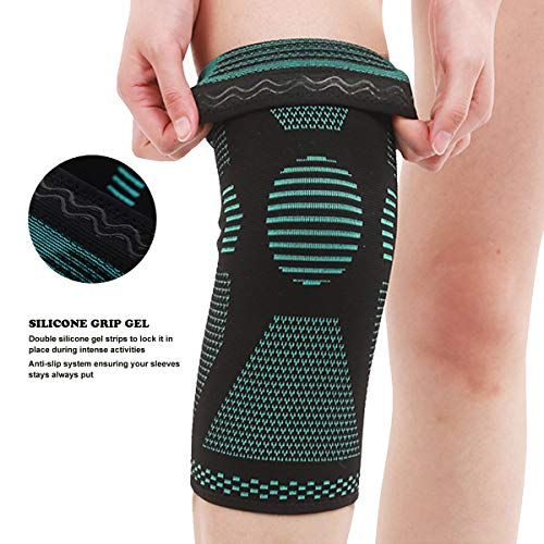 Premium-Compression-Knee-Sleeve-Best-Knee-Brace-for-Meniscus-Tear-Arthritis-Quick-Recovery-etc-Ideal-for-Running-Crossfit-Basketball-and-Other-Sports-Pair-Wrap-Small