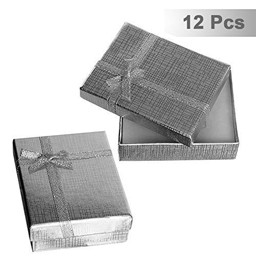 Kurtzy 12 Teiliges Schmuck Geschenkbox Set - Schmuck Etui mit Samteinlage fur Kette, Ohrring, Ring - 9 x 7 x 3 cm Prasentations-Schachteln für Hochzeit, Verlobung - Schleife und Band Design