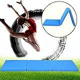 GOTOTOP Tappetino fitness Tappetino pieghevole da ginnastica,Materassino per allenamento,morbido materassino da ginnastica per casa,a 3 sezioni,180x60x5 cm (Yoga mat blu)