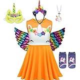 Mädchen Einhorn Cosplay Kleid 6-teiliges Set ärmelloses Tutu Prinzessin Blumenkleid mit Stirnband + Flügel + 3D Design Socken + Halskette + Maske Weihnachten Kostüm Gr. 130 cm/8- 9 Jahre, 04orange