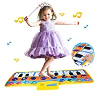 Keyboard Music Mat, Xndryan Kids Floor Piano Mat Keyboard Carpet Dance Mat Kids Early Educational Toy with 8 Music Instrument Pattern, Best Birthday Presents for 3 4 5 6 7 8 Years Old Girls Boys