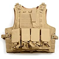 QHIU Gilet Tactique Camouflage Militaire Assaut Combat Protection Molle Veste pour Airsoft Paintball CS Sports de Plein air