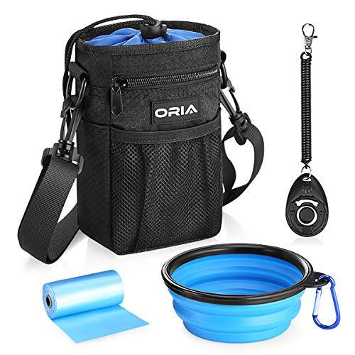 ORIA Futtertasche für Hunde, 4 in 1 Wasserdicht Futtertasche Hundtraining, Hunde Futterbeutel mit Kordelzug, Kotbeutel Spender, Hunde Clicker, Falten Schüssel & Schultergurt -Premium Leckerlibeutel