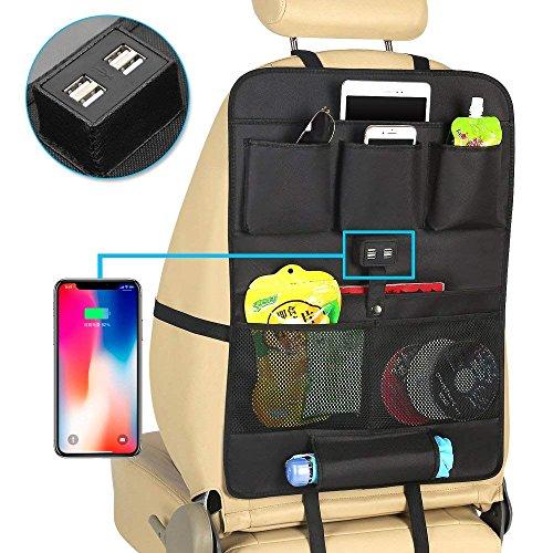 Aisaving Auto Organizer KFZ Rücksitz-Organizer Aufbewahrung 4. Reise Aufbewahrungstasche mit Tablet iPad Halter 4USB Lade-Ports