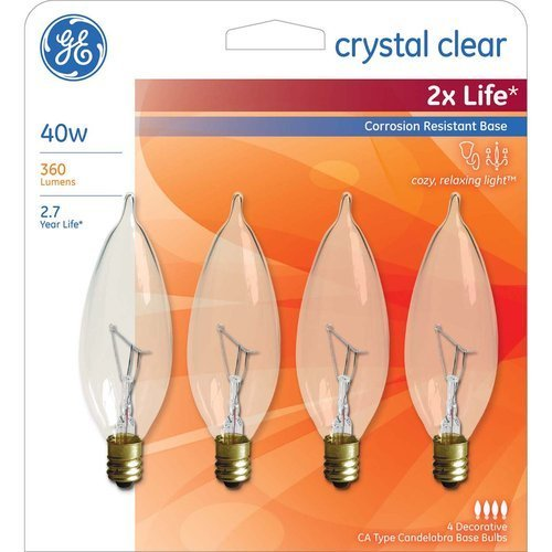Ge 40w 2x Life Deco Bent Tip Small Base, 4pk by General Electric (General Base Electric)