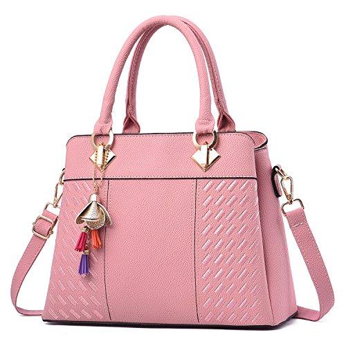 Barwell Damen Handtaschen für Frauen PU Leder Umhängetasche Taschen Tote (Hell-Pink)