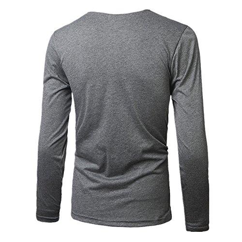 BOMOVO Herren Freizeit PU Spleiß Langarm T-Shirt Shirt Henley-Slim Fit Dark Grau