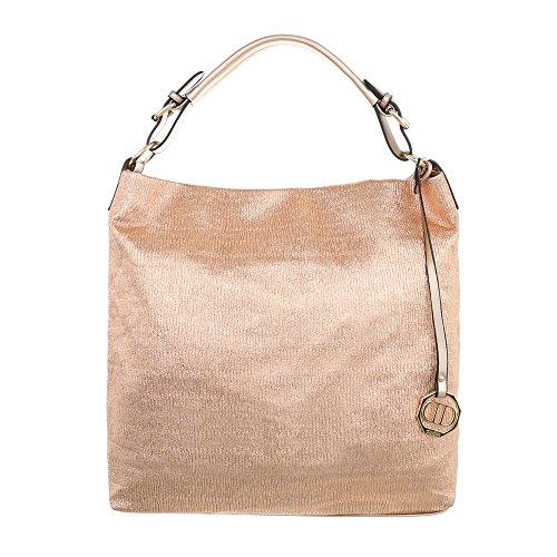Ital-Design MITTELGROßE DAMEN SCHULTERTASCHE SYNTHETIK HANDTASCHE GOLD ROSA (Rosa Und Gold Handtasche)