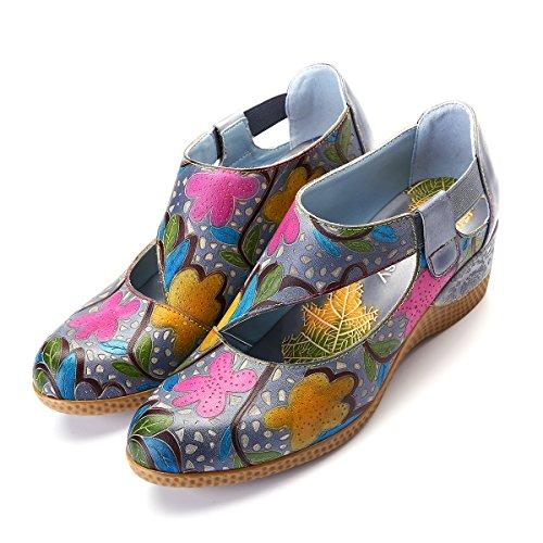 Gracosy Zapatos de Cuero Mocasín para Mujer Zapatos Casuales Hechos a Mano Zapatos de cuña Confort...