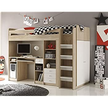 kinderbett hochbett kleiderschrank schreibtisch united eiche weiss 90x200 cm k che. Black Bedroom Furniture Sets. Home Design Ideas
