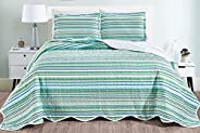 """Masterplay 3-Piece Fine Printed Oversize (115"""" X 95"""") Quilt Set, Bedspread Coverlet King Size Bed Co"""