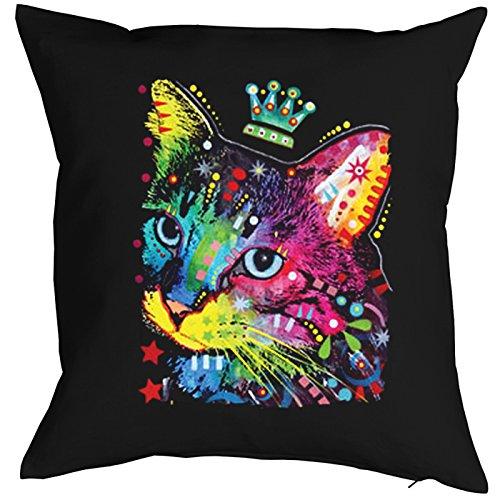 Kissen komplett mit Füllung, Dekokissen, Sofakissen mit bunter Katze - Thinking Cat Crowned