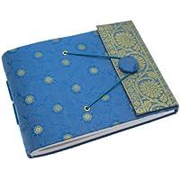 Fair Trade Album per fotografie ricoperto in tessuto sari blu 180 x 140 mm