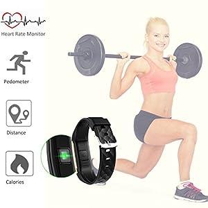 Fitness Tracker Monitor de frecuencia cardíaca rastreador de actividad salud impermeable banda de pulsera inteligente con podómetro Monitor de sueño paso contador de calorías Bluetooth pulsera para natación ciclismo, color rojo
