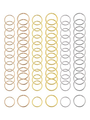 180-Pieces-Hair-Rings-Braid-Rings-Hair-Hoops-Hair-Loop-Clips-3-Colors-2-Sizes