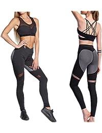 Corriendo De Cintura Alta Mujer Leggings De Yoga Deportivos Gasa Elásticos  Slim Patchwork Forma De Corazón 42ca68c34542