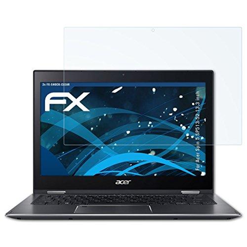 atFolix Schutzfolie kompatibel mit Acer Spin 5 SP513-52 13,3 inch Panzerfolie, ultraklare & stoßdämpfende FX Folie (2X)
