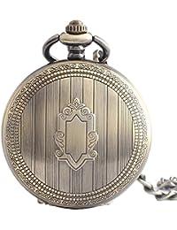 Maybesky Reloj de Bolsillo mecánico clásico Retro Redondo Romano de Numberal con la Cadena Caja de Regalo para cumpleaños Aniversario día Nav
