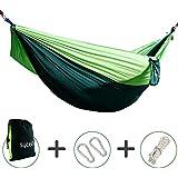 Hängematte, SYCEES-GIMARS Tragbaren Parachute Nylongewebe Hängematten (270 x 140 cm, Belastbar bis 200 Kg) mit Aufbewahrungstasche für Outdoor/Camping/Reisen, Grün