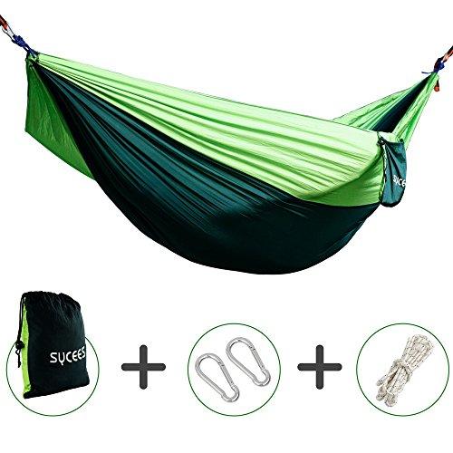Hängematte, SYCEES-GIMARS Tragbaren Parachute Nylongewebe Hängematten (270 x 140 cm, Belastbar bis 200 Kg) mit Aufbewahrungstasche für Outdoor/Camping/Reisen, Grün (Entspannt Golf)