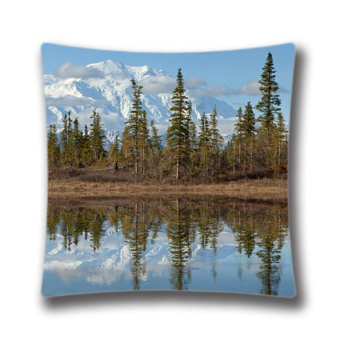 Juzijiang Mount Mckinley Denali National Park Alaska Throw Pillow Case Sham Decor Cushion Covers Square Polyester & Polyester18X18 inch Denali Fleece
