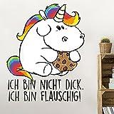 Bilderwelten Wandtattoo Pummeleinhorn Ich Bin Flauschig!, Sticker Wandtattoos Wandsticker Wandbild, Größe: 125cm x 100cm