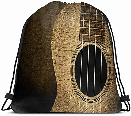 Drawstring Backpack String Bag 14X16 Country Ukulele Wood Old Sports Recreation Textured Music Vintage Folk Guitar Classic Classical Dirty Rock Sport Gym Sackpack Hiking Yoga Travel Beach