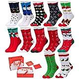 Vertvie 12 Paar Unisex Weihnachtssocken Christmas Socks Weihnachtsmotiv Weihnachten Festlicher Baumwolle Socken Mix Design für Damen und Herren (One Size, 12er Pack)