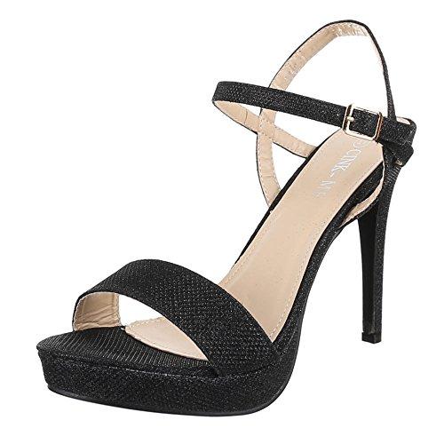 Damen Schuhe, Schuhe, Schuhe, DM4G-2, SANDALETTEN HIGH HEELS PLATEAU PUMPS Schwarz  [B01CHXKFQQ] 8f4870