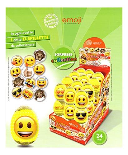 Dolfin emoji, ovetti emoji di cioccolato finissimo al latte con tante sorprese da collezionare. ideale per le feste di compleanno, la vostra caramellata e candy buffet. idea regalo uova di pasqua emoji per i bambini. confezione da 24 pezzi. senza glutine / gluten free