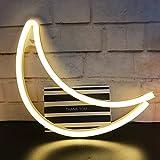 AIZESI White Moon Lamp Light LED Lampe Mond Deko Wandleuchte Neonlicht Weiß Mondlicht Wand Dekor Lampe Nacht Dekor Party Hochzeitsgeschenk USB(Warmer weißer Mond)