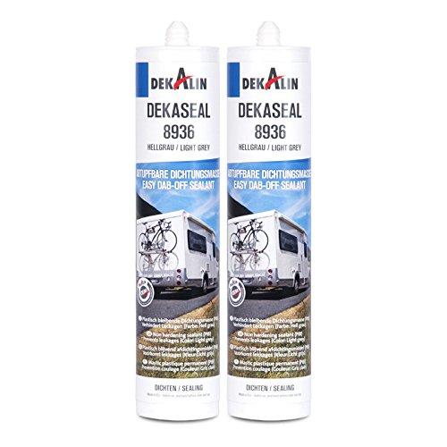 Dekalin Dichtstoff 2x 290 ml, hellgrau für Rahmen, Abläufe oder Wohnwagen und Wohnmobil Luken