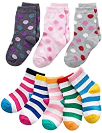 FOOTPRINTS Organic cotton Baby Socks - 3-5 years - Pack of 8 Pairs - Bigdot and Colourful Stripe