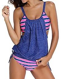 TDOLAH Femme Maillot de Bain 2 pièces Tankini Elégant Top Shorty Rayures Double Up Bandage Beachwear 4 Couleurs