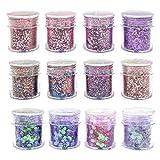 JJYHEHOT 12 Pezzi Glitter in polvere Paillettes iridescenti Trucco Cosmetico per Corpo Viso Capelli e unghie Scaglie Scintille Viso Corpo Capelli Chiodi