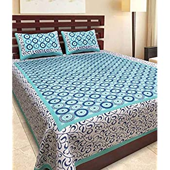 JAIPUR PRINTS 100% Cotton Rajasthani Tradition King Size Double Bedsheet with 2 Pillow Cover (Sea-Green)