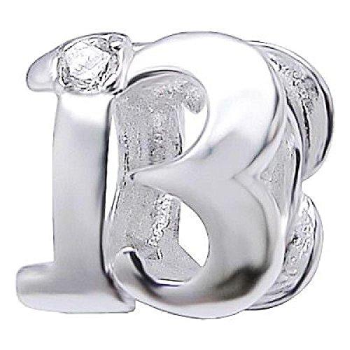 So Chic Joyas - Abalorio Charm Numero 13 de buena suerte Suerte Circonita Blanco - Compatible con Pandora, Trollbeads, Chamilia, Biagi - Plata 925