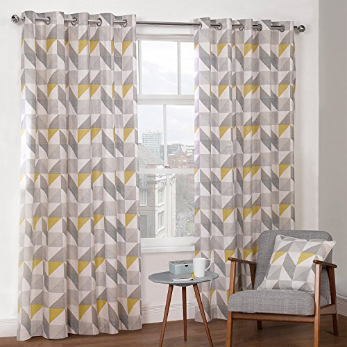 Cortinas geométricas amarillas y grises 229x168cm