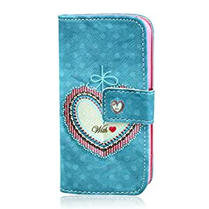 Love Heart Design Wallet Leather Flip Folio Magnetic Skin Tpu Case Cover Card Slots for Apple iPhone 5 5S