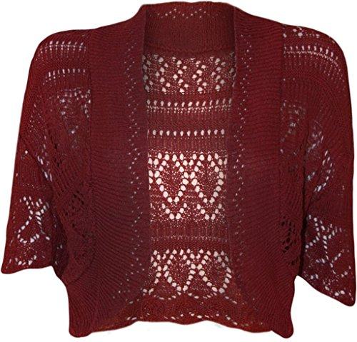 Frauen-Damen Crochet Strick Shrug Cardigan Bolero Pullover (Crochet Knit Shrug) (Cardigan Crochet Knit)